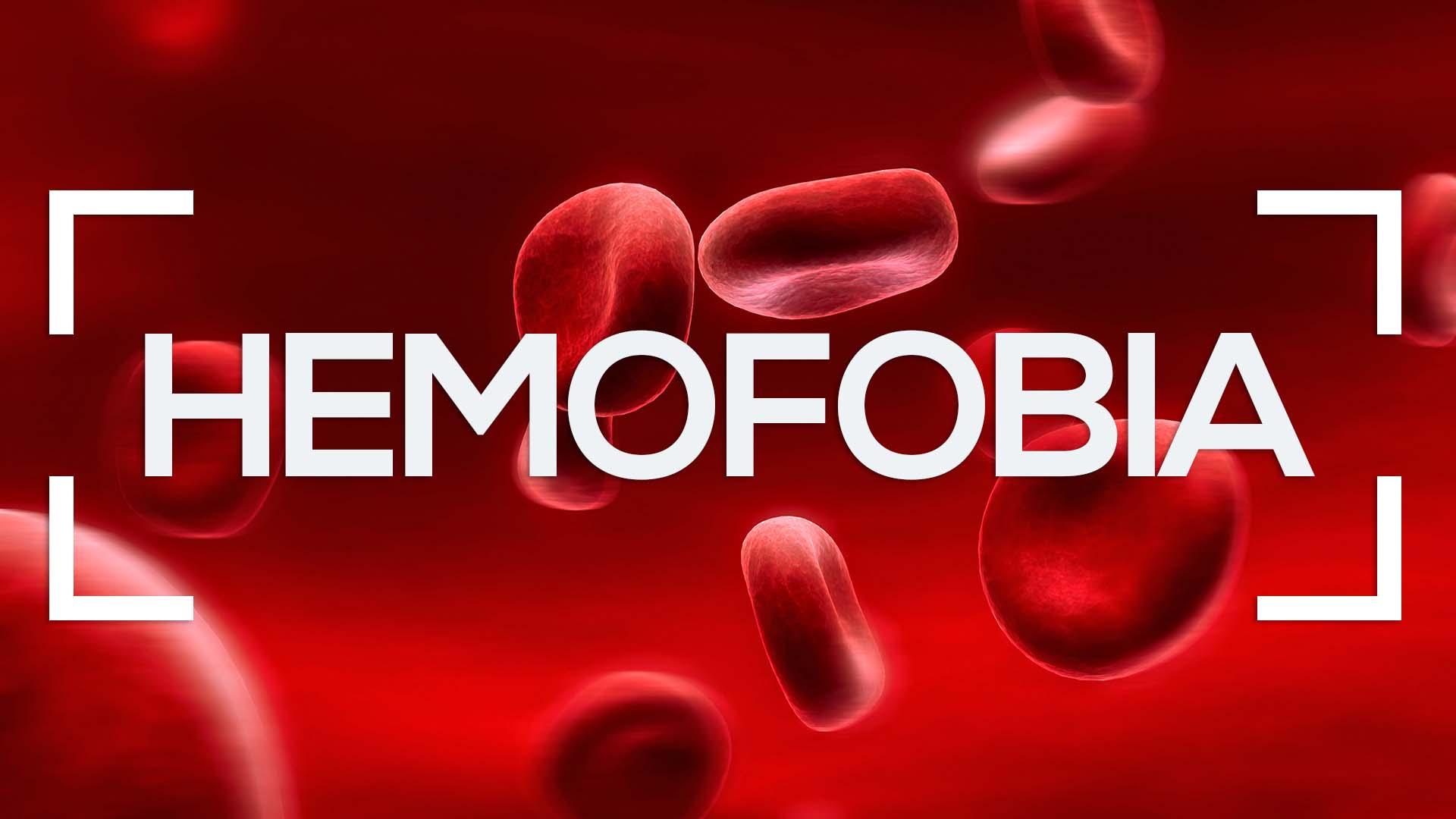 Se muestran glóbulos rojos y la palabra hemofobia