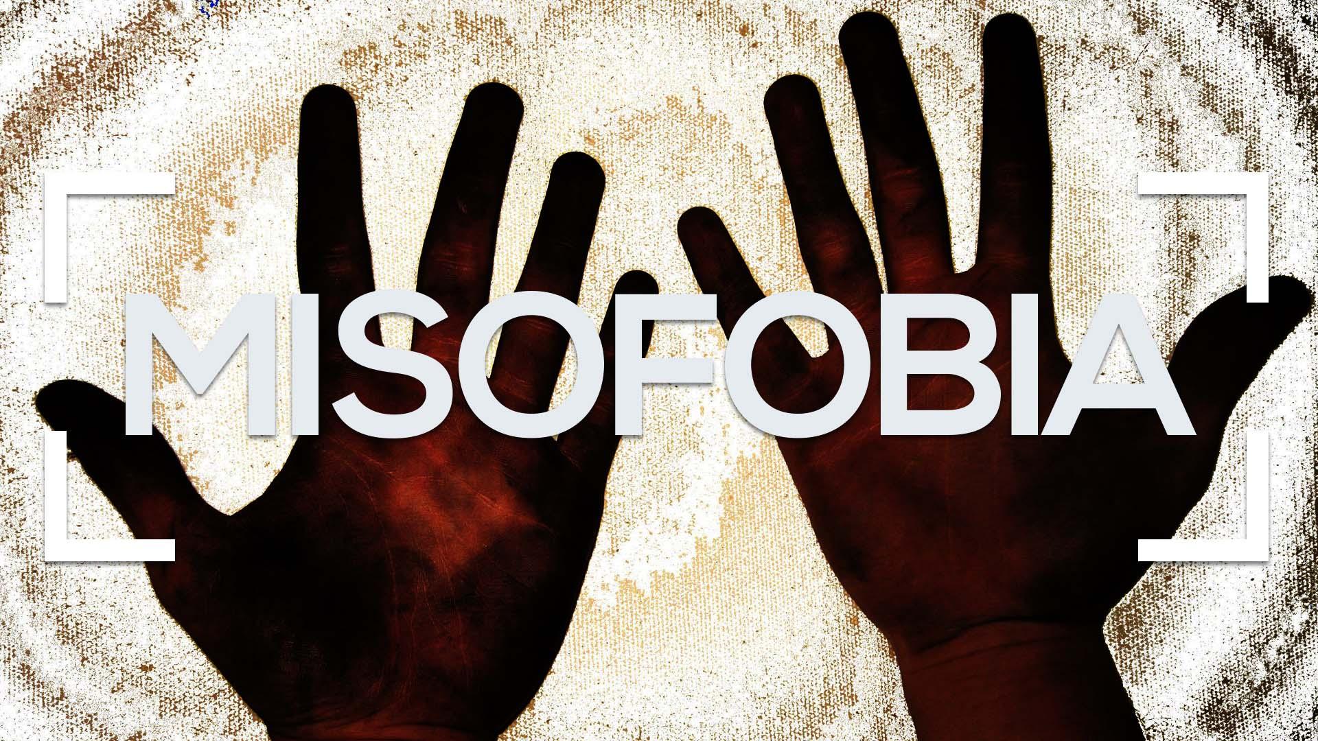 se muestran dos manos sucias y la palabra misofobia