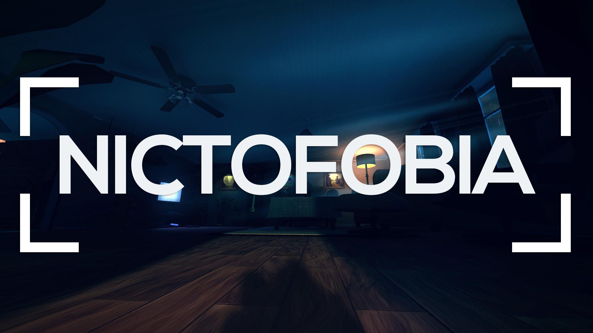 Se muestra una habitación oscura y la palabra nictofobia