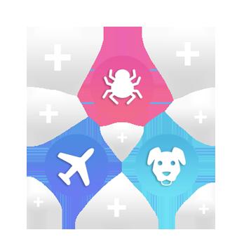 Diferentes iconos flotando en relación a las terapias que se tratan en PsicoVR