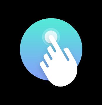 Icono que muestra una mano interactuando con una interfaz. Experiencia de usuario interactiva