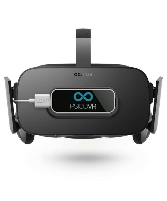 Imagen de unas oculus Rift con un Leap Motion incorporado.