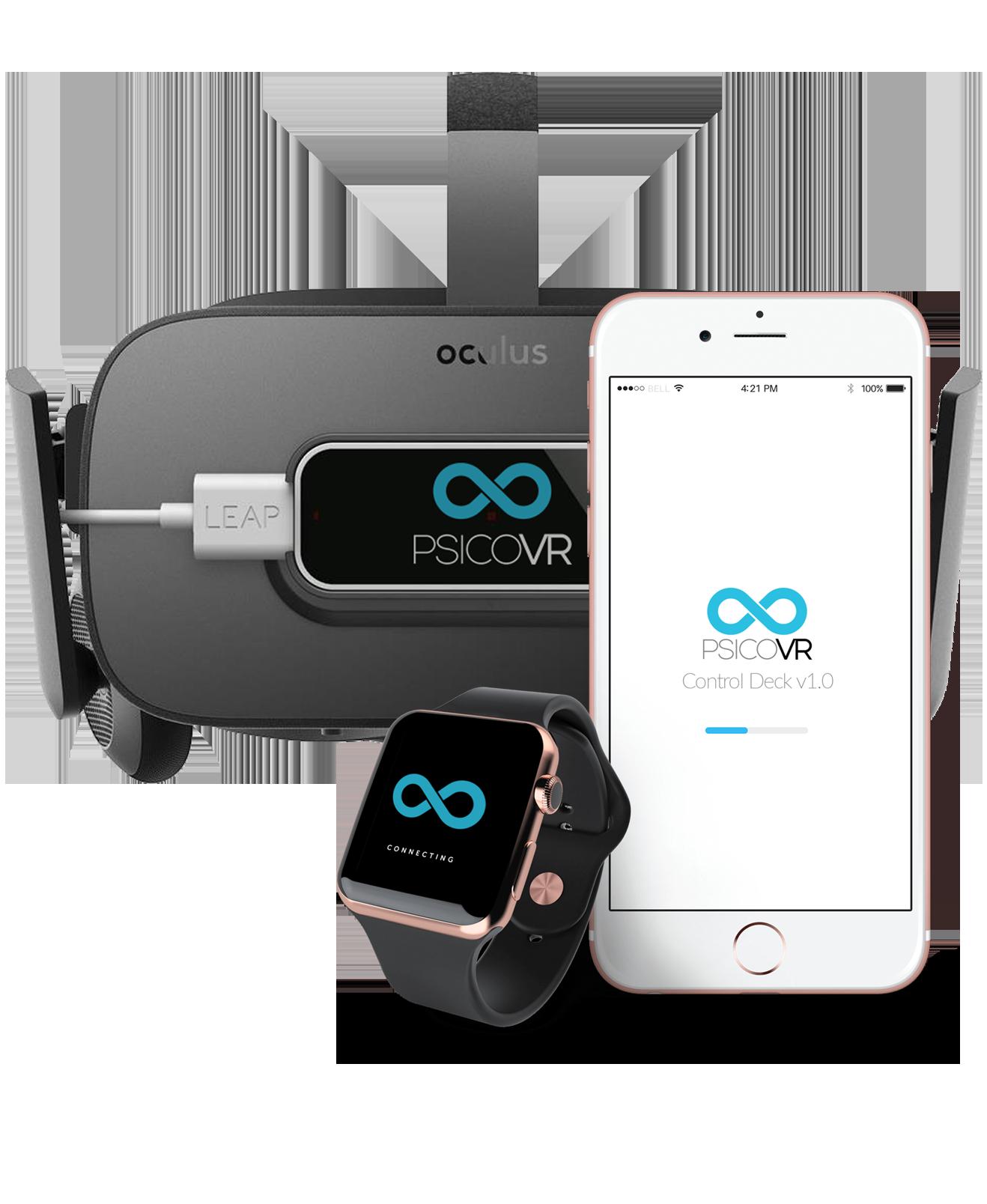 Se muestran unas Oculus Rift, un Iphone y un iwatch con la aplicación de PsicoVR Control Deck conectada en todos los dispositivos simultaneamente