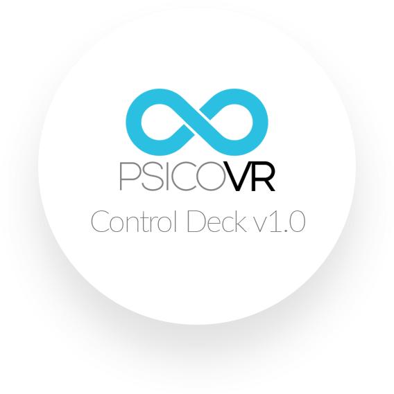 Logotipo de PsicoVR Control Deck. Circulo blanco con símbolo infinito en su interior.