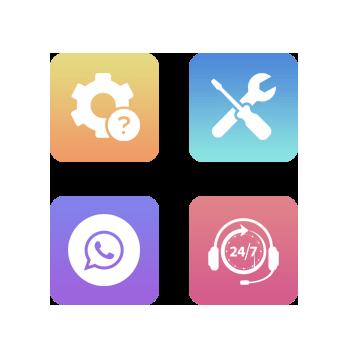 Cuatro iconos relacionados con el Servicio Técnico. Opción, erramienta, mensajes y servicio 24 horas